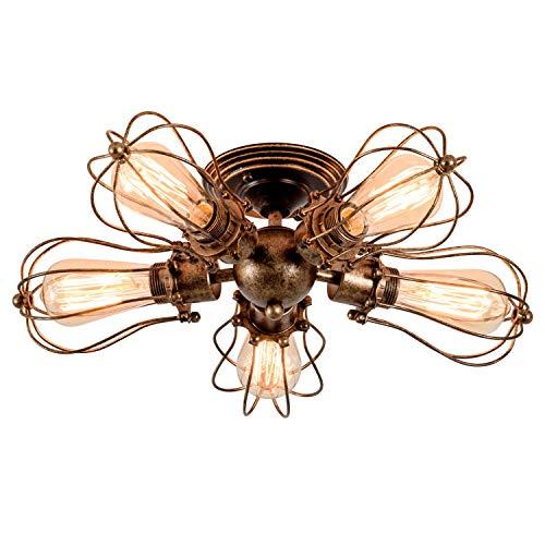 Deckenleuchte Retro Metall Deckenleuchte Antik Retro Lampe für Landhaus Schlafzimmer Wohnzimmer Esstisch(Birne nicht enthalten) (Öl Bronze, 5 Lichter)