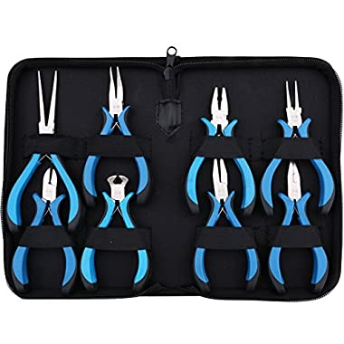 Yeeco 8-Piece Mini Pliers Set with Blue Handle, Linesman Pliers, Diagonal/ Curved Bend/ Needle Nose/ Flat/ Sharp Round Nose Jewelry Pliers, Solid Joint End Cutting Cushion Grip Wire Nipper Repair Tool