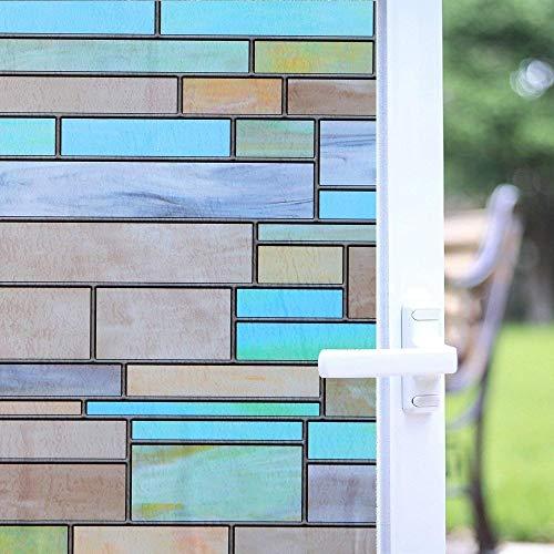 Varios tamaños de película para ventanas de vidrio de privacidad de color, película para el hogar sin pegamento de vidrio de ventana de mantenimiento fresco estático en forma de ladrillo A21 60x200cm