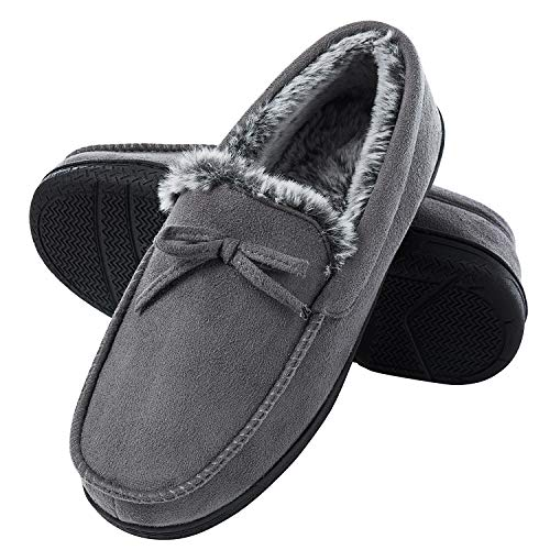 DL Men-Moccasin-Slippers-Indoor-Outdoor, Suede Mens House Slippers with Memory Foam, Faux Fur Lining Bedroom Slippers for Men Non Slip Outsole Grey