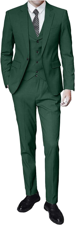 Wemaliyzd Classic Fit 3 Piece Business Suit Vest for Men Notch Lapel Blazer Straight Pants