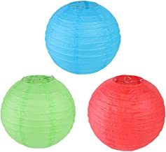 12pcs Colored Chinese Paper Lanterns Decorative Hanging Lantern for Home Party Wedding (4 inch Red+6 inch Grass Green+8 inch Sky Blue)