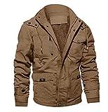 MAGCOMSEN Herren Fliegerjacke Winter Cargo Jacken Militär Jacke für Männer Übergangsjacke Warm Outdoorjacke Baumwolle Blouson mit Multi Taschen Khaki L