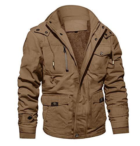 MAGCOMSEN Herren Fliegerjacke Winter Cargo Jacken Militär Jacke für Männer Übergangsjacke Warm Outdoorjacke Baumwolle Blouson mit Multi Taschen Khaki 3XL