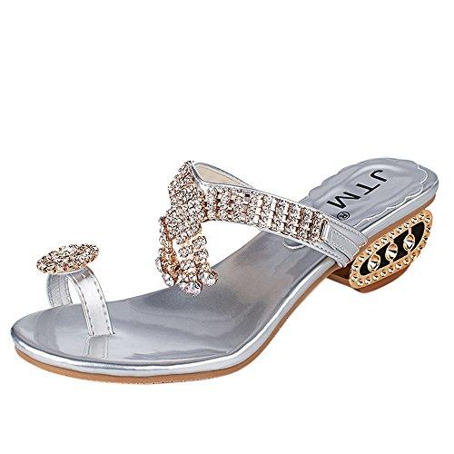 Deloito Damen Mode Sandalen Keile Flip Flops Elegante Pantoletten Strass Kristall Hausschuhe Freizeit High Heels Schuhe Sandalette (Silber,38 EU)
