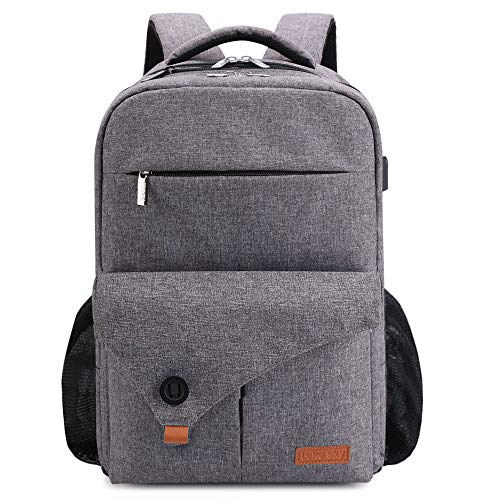 Lekesky Laptop Backpack 15.6 Inch Travel Computer Rucksack with USB Charging Port for Business/College/Men/Women - Grey