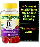 Vitamin B12 Gummies for Adults, Vegetarian, Non-GMO Project Verified 500 mcg (100 ct) from Spring Valley. + 'No Fluff' Supplement Guide©