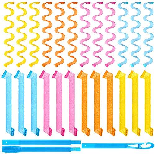 Kit de Rizadores de Cabello en Espiral de 24 Piezas, Rizadores de Pelo sin Calor Rulos en Espiral Rulos de Estilo de Onda con Ganchos de Peinado para Herramientas de Peinado Largo(19,68 Pulgad