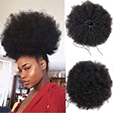 WENYU Afro Puff Drawstring Ponytail Human Hair Bun For Black Women 8A Brazilian Virgin Afro Kinky Curly Clip In Ponytail Extension Human Hair Pieces Natural Color (10 Inch, Drawstring Ponytail)