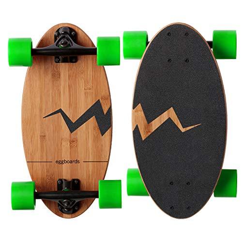 Eggboards Bamboo Longboard Mini Cruiser - Wide Small Bamboo Skateboards Ride Like Longboards Komplettes Longboard für Erwachsene und Kinder 48,3 cm langes Skateboard Deck aus Holz