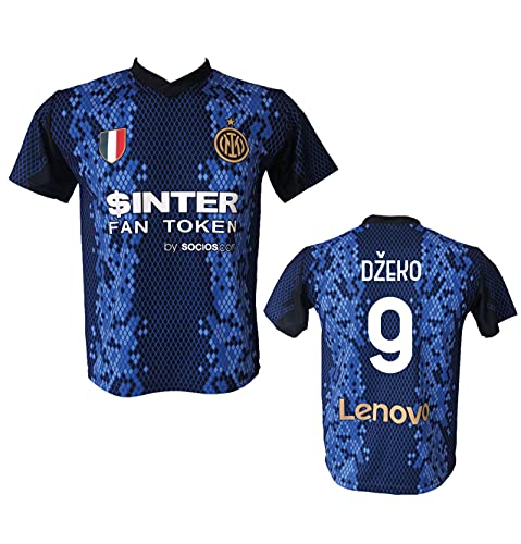DND DI D'ANDOLFO CIRO Maglia Calcio Inter Edin Dzeko 9 Replica autorizzata 2021-2022 Taglie da Bambino e Adulto (10 Anni)