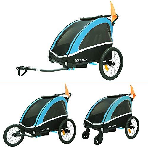 Kinderfahrradanhänger Aluminium Fahrradanhänger Jogger 2in1 Anhänger Kinderanhänger 702-D03 BLAU