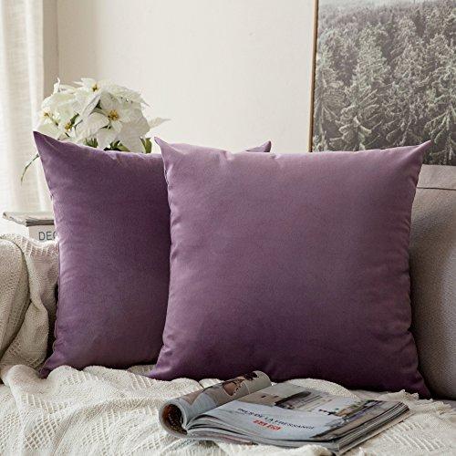 MIULEE 2er Set Samt Kissenbezug Soft Solid Dekorative Quadrat Wurf Kissenbezüge Set Kissen für Sofa Schlafzimmer Violett 16x16 Zoll 40x40 cm
