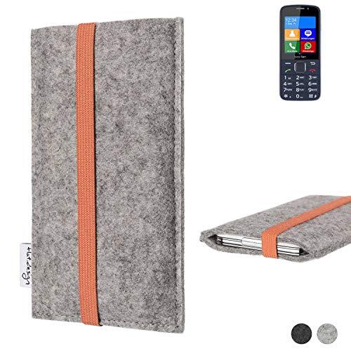 flat.design Handy Hülle Coimbra für bea-fon SL820 - Schutz Case Tasche Filz Made in Germany hellgrau orange