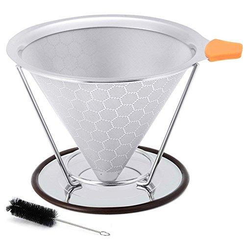 Filtros de café de acero inoxidable, CoWalkers Vierta sobre el goteo de café Filtro de café con cono reutilizable con Vierta sobre el soporte de la taza, Cepillo, libre de BPA