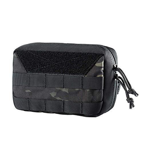 OneTigris Molle EDC Sac à outils militaire en nylon Cordura Sac à outils tactique pour le programme Gadget, sports en plein air, randonnée, emballage MEHRWEG, Camouflage noir.
