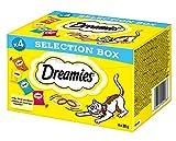 Dreamies Katzensnacks mit verschiedenen Geschmacksrichtungen – Huhn, Käse, Rind & Lachs – Außen knusprig & innen cremig – 16 x 30g