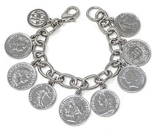 Ben-Amun Jewelry Simulated Rhodium Plated French Coins Charms Bohemian Bracelet 7 inch (50437)