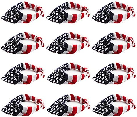 12 Pieces American Flag Bandanas 100 Cotton Flag Headband Handkerchief Unisex Bandanas Patriotic product image