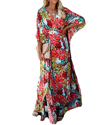 MEILING Women's Print Kaftan Nightgown Long Caftans Beach Maxi Dress Bikini Swimsuit Bathing Suit Cover Up Swimwear (Print U)