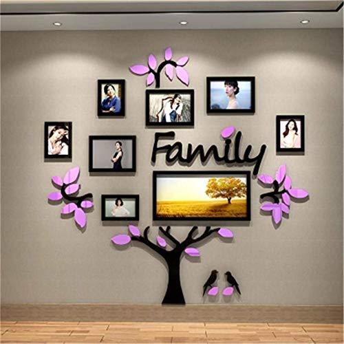 HSIOVE 3D Arcylic DIY Familie Fotorahmen Baum Wandaufkleber Fotorahmen Home Decor Schlafzimmer Kunst Bilderrahmen Wandtattoos Poster (Color : Purple 100x100cm)