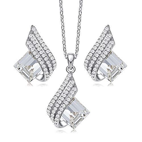 LYN Conjunto De Collar Y Aretes De Plata Esterlina S925, Joyería Colgante De Cristal Personalizada, Regalos para Mujeres, Empaque