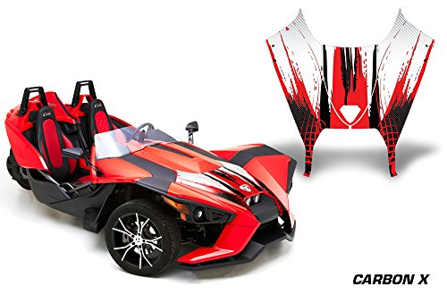 AMR Racing Roadster Graphics kit Sticker Decal Compatible with Polaris Slingshot SL 2015-2016 Vinyl Wrap Hood kit - CarbonX X Red