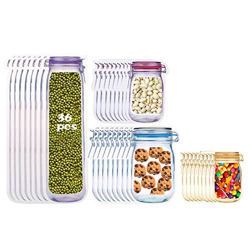 RayE 36pcs Mason Jar Zip Beutel, Lebensmittel Aufbewahrungsbeutel Wiederverwendbare, Lebensmittelbeutel Einmachglas, Mason Bag Versiegelt zum Backen von Keksen Snacks Süßigkeiten