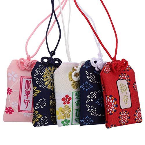 BESPORTBLE 5 Unids Japonés Omamori Charm Shrine Lucky Amulet Charm Amuletos de Buena Suerte para La Salud Y La Riqueza Educación Amor