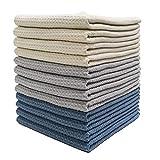 Polyte - Paño de Cocina de Microfibra superabsorbente - Punto gofrado - Azul Oscuro, Gris, Blanco Roto - 41 x 71cm - Pack de 12