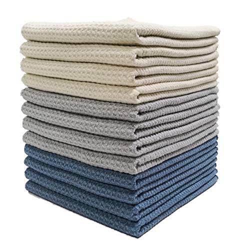 Polyte - Premium-Geschirrhandtücher aus Mikrofaser - Waffelstruktur - Dunkelblau, Grau, Altweiß - 41 x 71 cm - 12 Stück