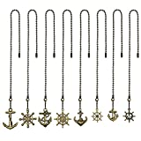 FOWALCOO 8 Pcs Different Charm Pendant Vintage Bronze Anchor and Wheel Ceiling Fan Pull Chain Extender with...