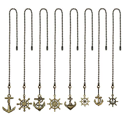 8 Pcs Different Charm Pendant Vintage Bronze Anchor and Wheel Pull Chain Extender with Ball Chain Connector