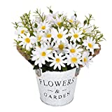 Shiny Flower Artificial Daisy Pot Artificial Daisy Bouquet with Vase Silk Daisy Arrangements Bonsai for Home Office Wedding Party Stage Centerpieces Windowsill Decor, Yellow