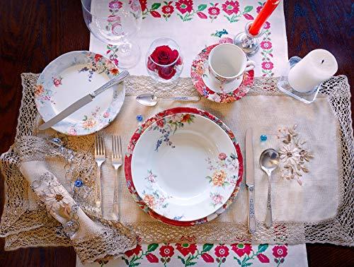 Tudor 30-Piece Premium Quality Porcelain Dinnerware Set, Service for 6 - CRIMSON, See 10 Designs Inside!