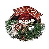 THEE, corona di Natale per porta, corona dell'Avvento, con Babbo Natale, corona decorativa da appendere alla porta o alla parete