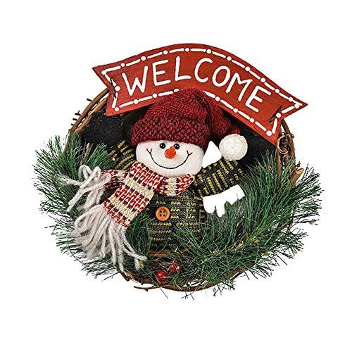THEE Weihnachtskranz Türkranz Adventskranz Tannenkranz Weihnachtsmann Schneemann Weihnachten Kranz Dekokranz Hängende Tür Wand Verzierung