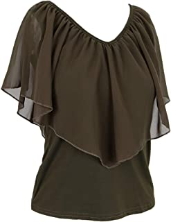 MagiDeal Women's Summer Cold Shoulder Ruffle Sleeve Loose Stretch Tops Blouse Shirt