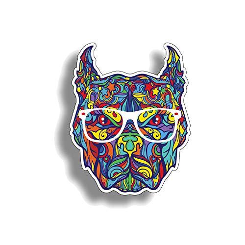 YLZH Etiqueta engomada del coche de color 9.5cmx12cm Personalidad Graffiti Pitbull Perro Cabeza Pegatina de coche Decal PVCステッカー Logo sticker