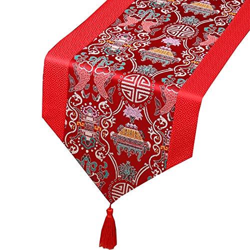 Corredor De Mesa, Placemática Pastoral China Con Patrón De Doble Pescado, Adecuado Para Bodas/Cumpleaños/Banquetes/Decoración Del Hogar,Rojo,33x120cm