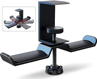 Dual Headphone Stand Hanger Under Desk, APPHOME 360 Degree Rotating PC Gaming Headset Holder Aluminum Clamp Hook Space Sav...