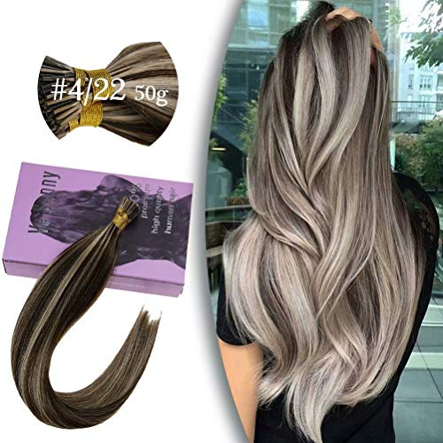 "VeSunny 18"" I Tip Hair Extensions Human Hair Brown Color #4 Highlighted With #22 Medium Blonde I Tip Remy Hair..."