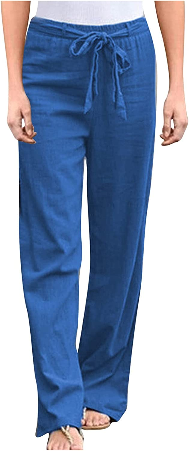 KOPLTYRFG Womens Pants Cotton Linen Long Pants High Waist Drawstring Loose Fit Solid Color Trousers with Pockets