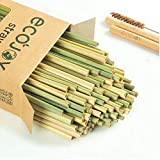 ECOJOY Biodegradable Grass Straws 119 Pack, 100% Natural Eco friendly, Premium Straws for Smoothies, Party, Drinking, Alternative to Plastic, Paper, Reusable Metal, Bamboo Straws