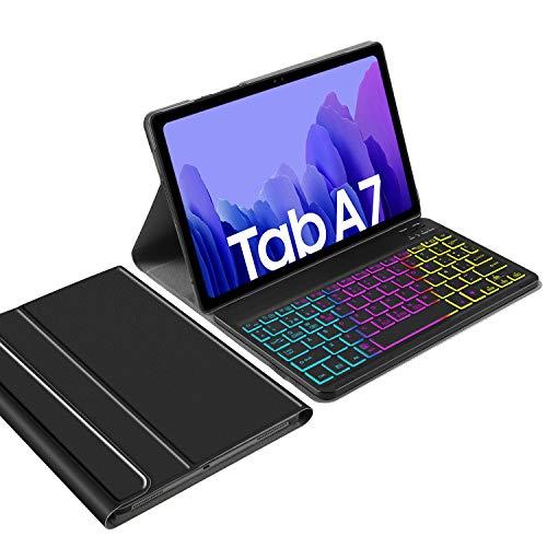 IVSO Backlit Español Ñ Teclado Compatible con Samsung Galaxy Tab A7, para Samsung Galaxy Tab A7 T505/T500/T507 10.4 2020 Teclado, Funda con 7 Colores Retroiluminado Wireless Teclado con Ñ, Negro