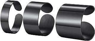 PROSTEEL Personalizzabile Anello Aperto Donna Uomo Semplice Unisex, Acciaio Inox/Placcato Oro, Largo 5 10 17 mm, Misura Re...