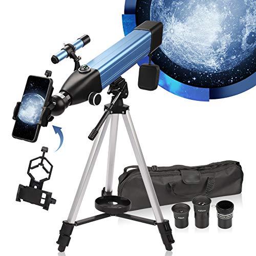Telescopio Astronomico,20X-168X 60mm Telescopio Astronomico Professionale,Telescopio Astronomico Bambini &adulto,Treppiede Regolabile,Oculare(K25&K9),ClipDello Smartphone,Treppiedi