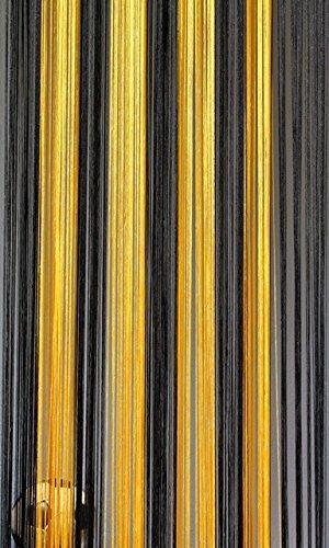 Fadenvorhang Schwarz-Gelb 90 cm x 240 cm