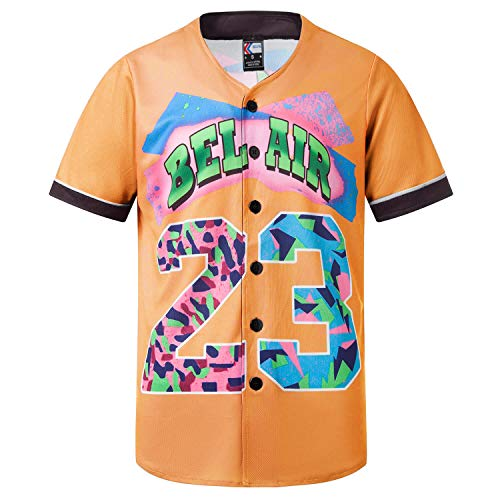 MOLPE Bel-Air 23 Printed Baseball Jersey, 90S Hip-Hop Clothing for Party (Orange, L)