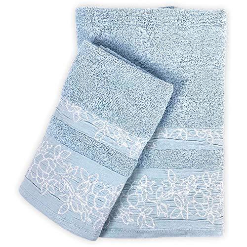 Juego de toallas de baño Foliage 100 % rizo de algodón, toalla para la cara, 60 x 100 cm, para invitados, 40 x 60 cm (cielo)